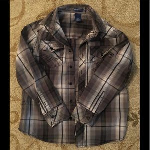 NWOT Plaid/Striped Button Down Long Sleeve 8-10